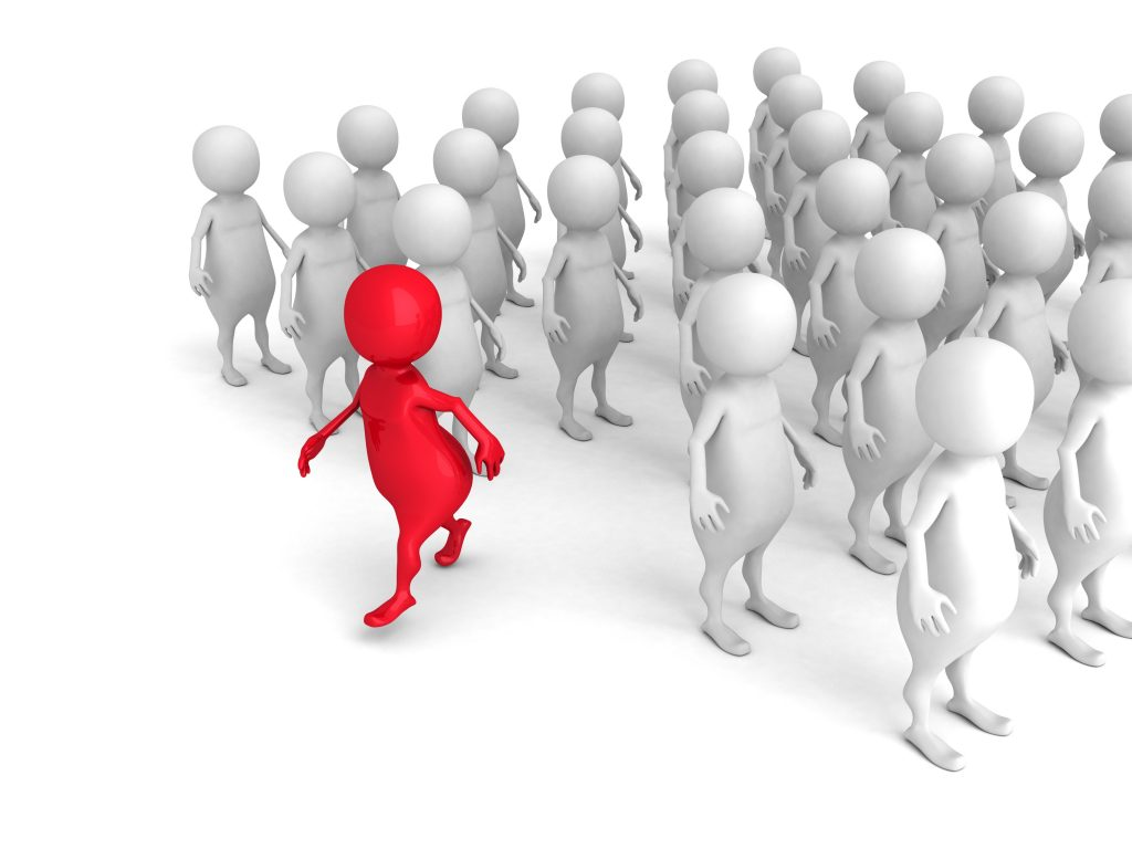 Red 3d Person Out From Crowd. Individuality Leadership Concept